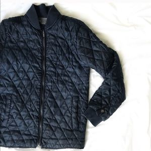 VINCE Navy Quilted Bomber Jacket